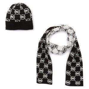 Michael Kors Argyle Logo Knit Beanie & Scarf Set